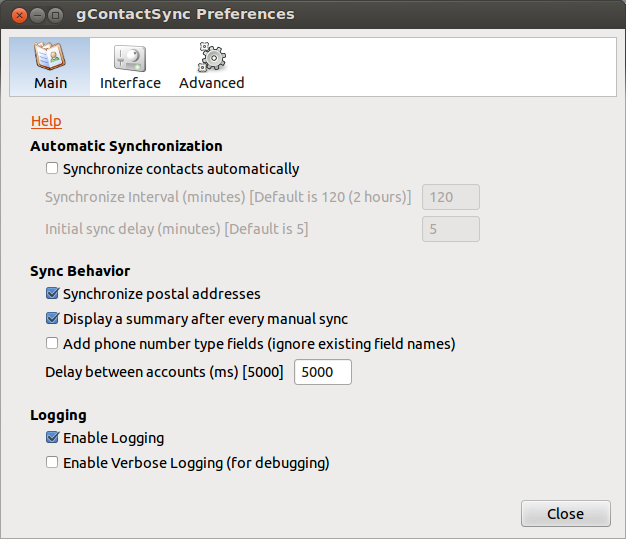 Main tab of Preferences Menu