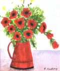 Poppies in a Red Jug © Pauline Curtis